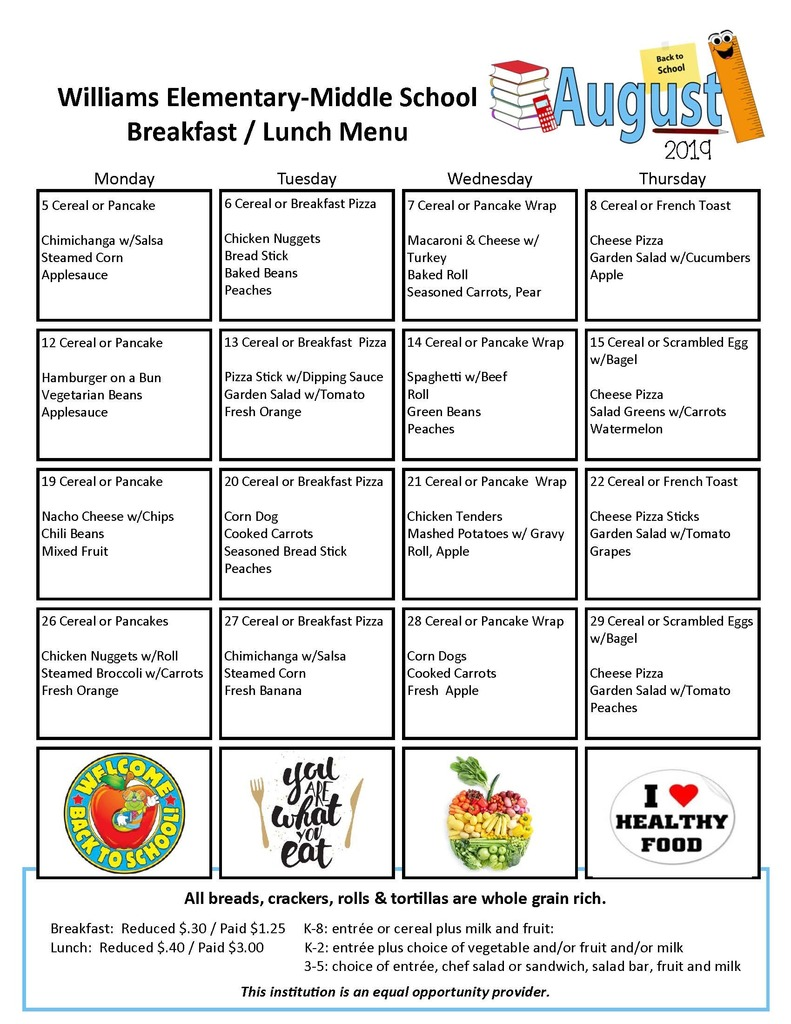 WEMS breakfast lunch menu