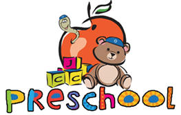 Image of apple with blocks and bear. Written words say preschool