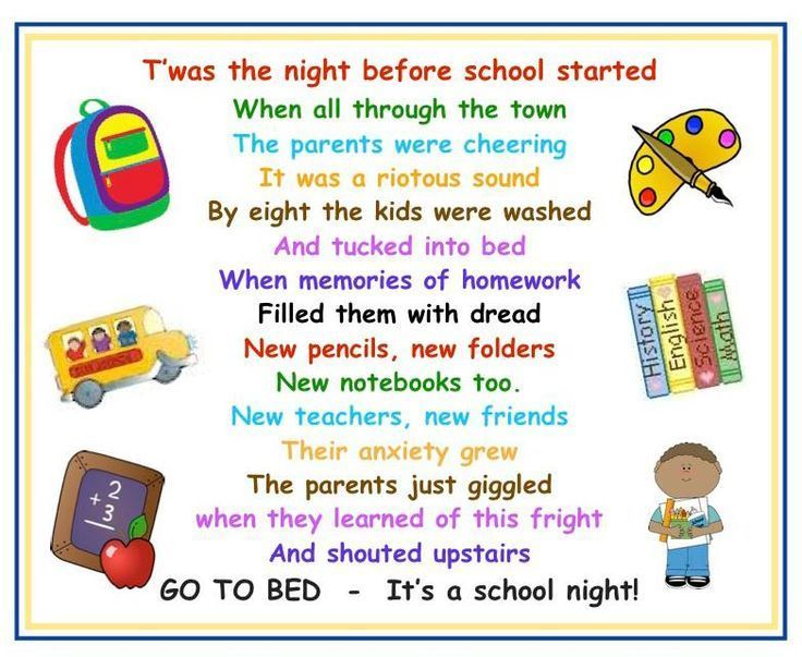 twas the night before school poem