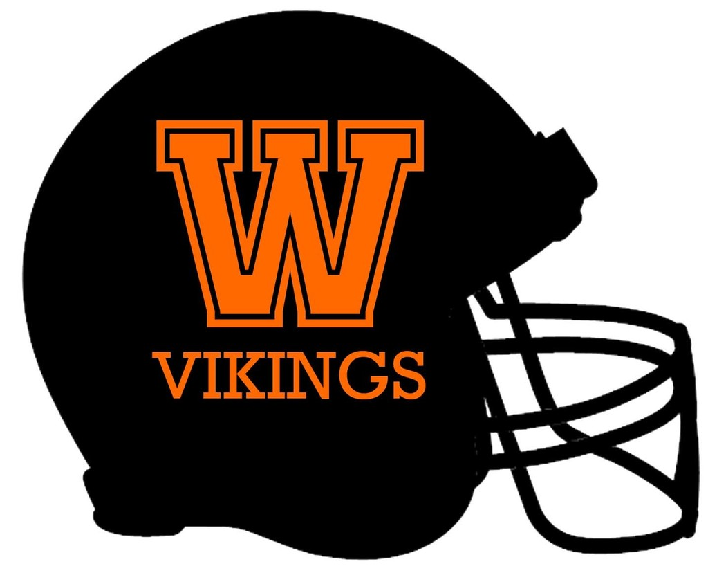 black football helmet with orange W and orange vikings spelled out